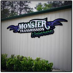 Monster Transmission Logo on Building
